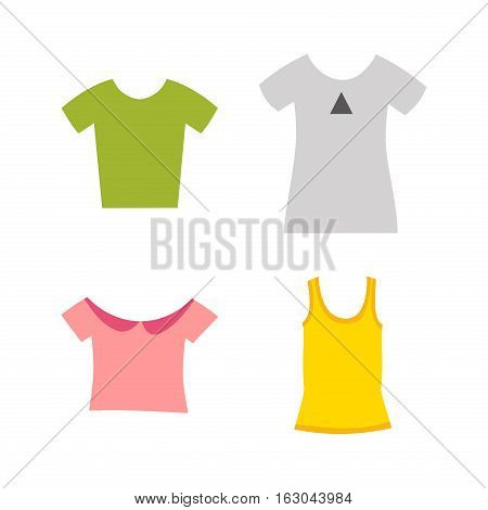 Cartoon fashion color shirt. Different clothing textile and blue wear. Adult t-shirt cloth design concept. Front view blank dress flat vector illustration.