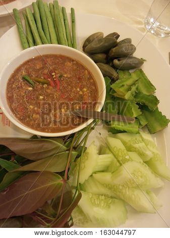 Close-up to spicy shrimp paste and vegetable