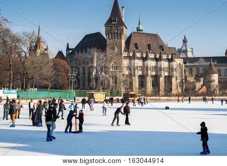 People On Ice Skating Rink Near The Vajdahunyad Castle. Budapest, Hungary.