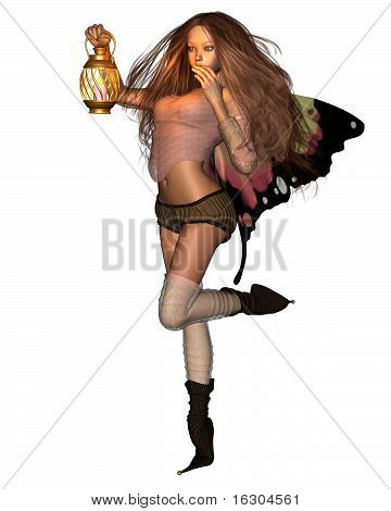 Pretty fairy with butterfly wings holding a candle lantern, 3d digitally rendered illustration poster
