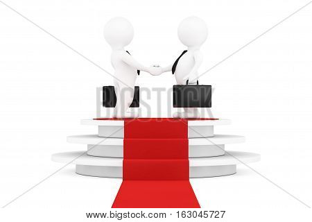 3d Businessman Characters Shaking Hands over Round White Pedestal with Steps and a Red Carpet on a white background. 3d Rendering
