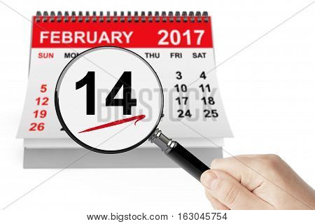 Valentines Day Concept. 14 February Calendar with Magnifier on a white background