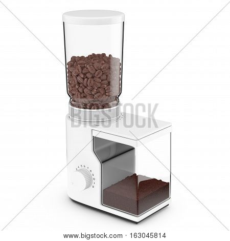 White Coffee Grinder with Coffee Beans on a white background. 3d Rendering