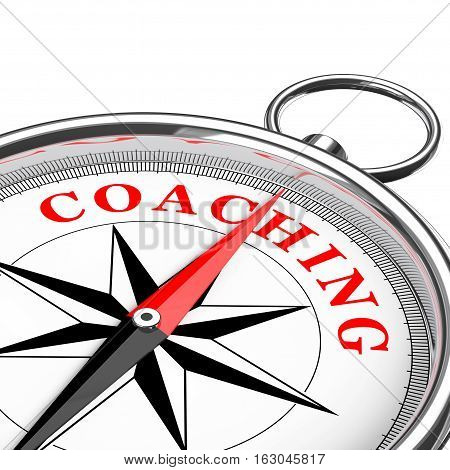 Direction to Coaching Conceptual Compass Closeup on a white background. 3d Rendering