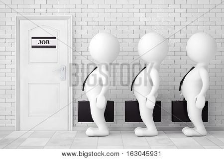 3d Persons in Line Waiting for Job Interview in front of brick wall. 3d Rendering