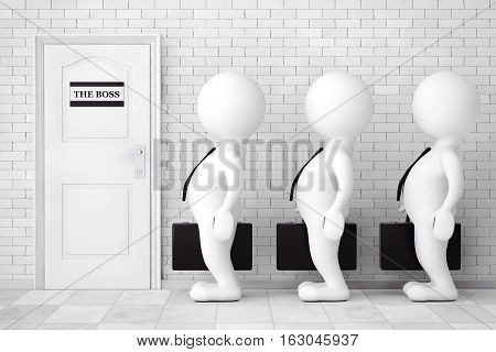 3d Persons in Line Waiting for Boss Interview in front of brick wall. 3d Rendering