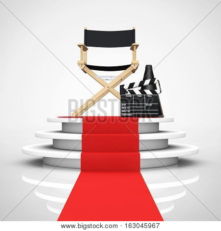 Director Chair Movie Clapper and Megaphone over Round White Pedestal with Steps and a Red Carpet on a white background. 3d Rendering