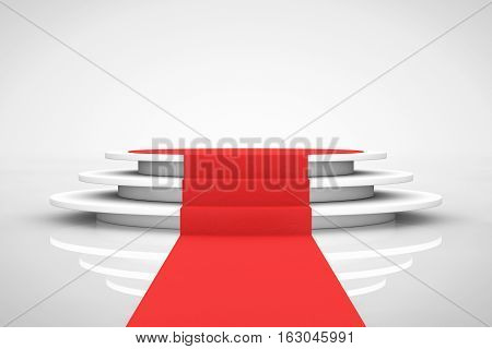 Round White Pedestal with Steps and a Red Carpet on a white background. 3d Rendering