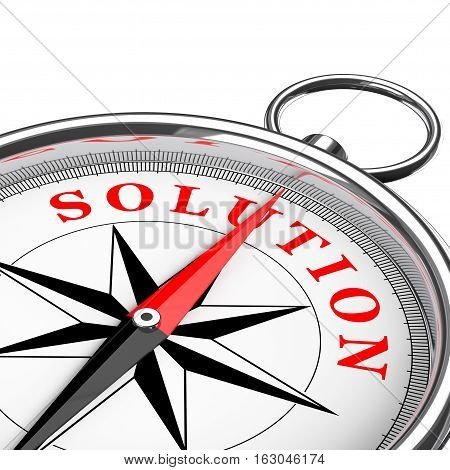 Direction to Solution Conceptual Compass Closeup on a white background. 3d Rendering