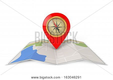 Folded Abstract Navigation Map with Target Pin and Compass on a white background. 3d Rendering
