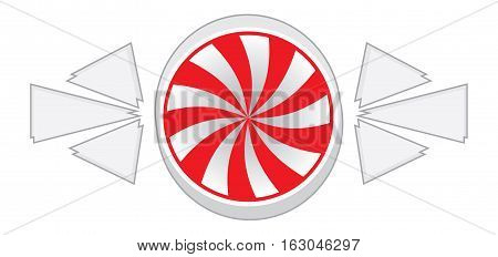 This is a vector illustration of a peppermint hard candy in a wrapper.