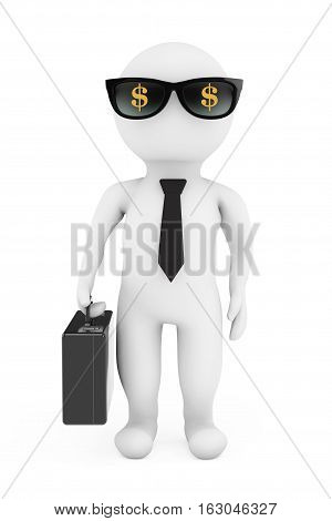 3d Businessman in Sunglasses with Dollar Sign on a white background. 3d Rendering
