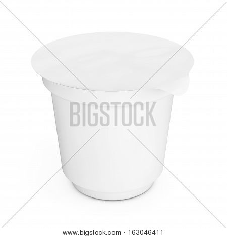 Blank White Packaging Container for Yogurt Ice Cream or Dessert on a white background. 3d Rendering