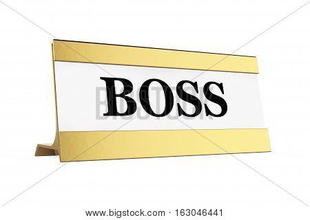 Golden Boss Identification Plate on a white background. 3d Rendering