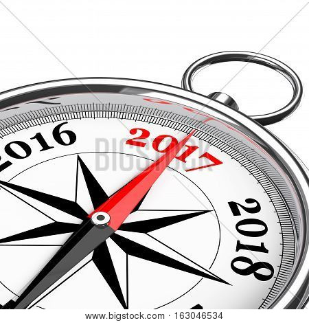 Direction to New 2017 Year Conceptual Compass Closeup on a white background. 3d Rendering