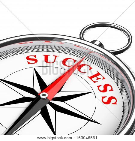 Direction to Success Conceptual Compass Closeup on a white background. 3d Rendering