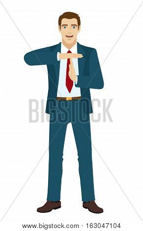 Businessman showing time-out sign with hands. Vector illustration.