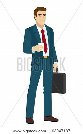 Businessman with disposable cup. Businessman holding briefcase. Vector illustration.