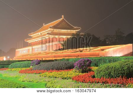 Iconic Tiananmen gate Beijing China light up