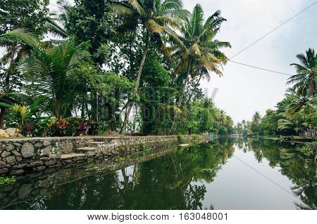 Backwaters in Alappuzha (Alleppey) Kerala state India