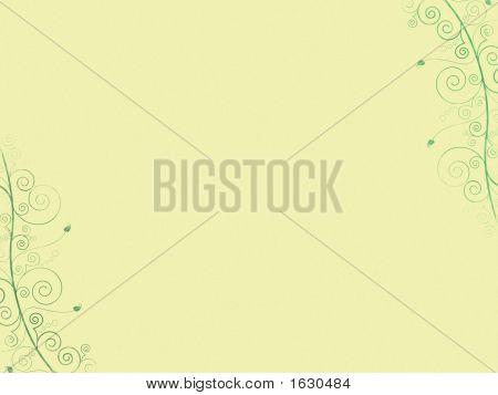Yellow Retro Background With Plants.