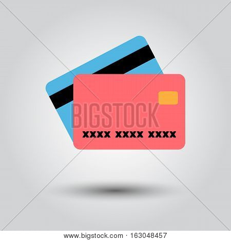 Credit card. Single flat icon on white background. Vector illustration.