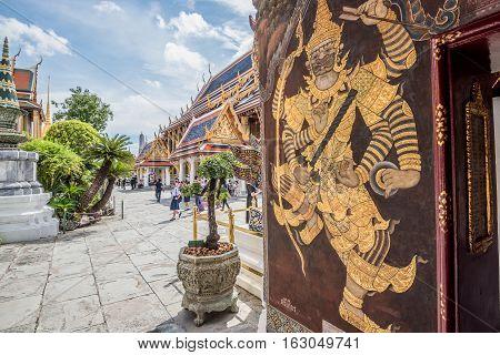 Bangkok Thailand - November 01 2016 : The tourist visiting Royal grand palace and Temple of the Emerald Buddha in funeral of His Majesty King Bhumibol in Bangkok.