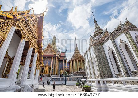 Bangkok Thailand - November 01 2016 : The tourist visiting Royal grand palace and Temple of the Emerald Buddha in funeral of His Majesty King Bhumibol in Bangkok.