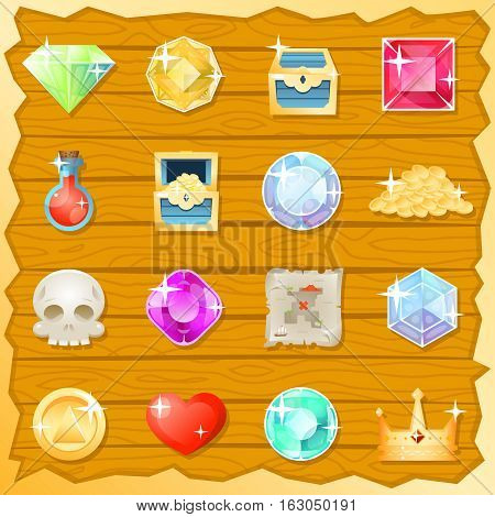 Pirate Game Jewel Gold Skull Trasure Chest Potion Heart Value Icon Set Retro Mobile Design Vector Illustration