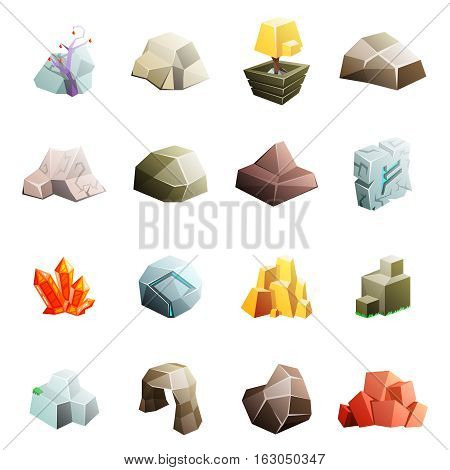 Game art environment low poly rock stone boulder cave cristal rune cartoon isometric flat style icons set vector illustration