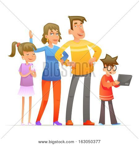 Family characters set cartoon and design vector illustration