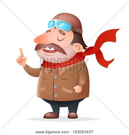 Aviator Pilot Thick Mascot Character Icon Retro Cartoon Design Vector Illustration
