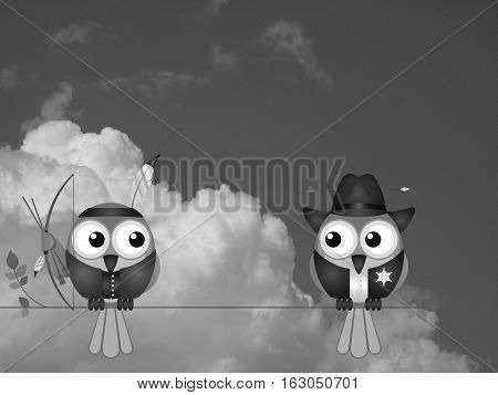 Monochrome Native American and Cowboy birds sat on a tree branch against a cloudy sky