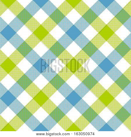 Blue green diagonal checkered plaid seamless pattern. Vector illustration. EPS 10.