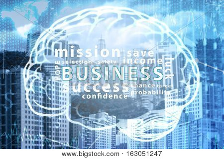 Business text inside the brain icon over city background