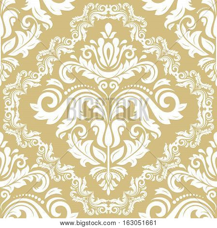 Damask vector classic white and golden pattern. Seamless abstract background with repeating elements. Orient background