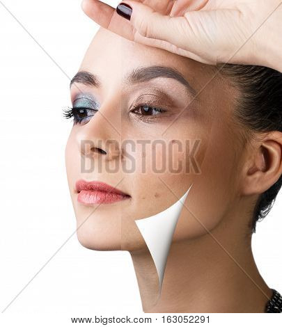 Layer part without makeup unstick from face with with perfect makeup.