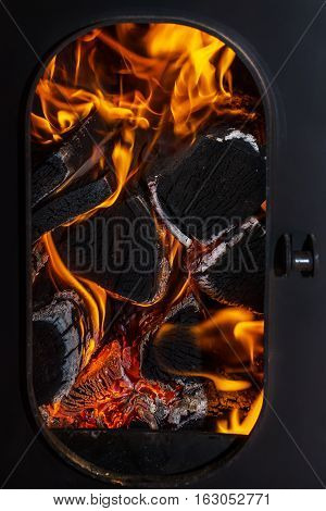 The flames of the fire in the firebox
