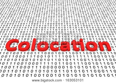 Colocation in the form of binary code, 3D illustration