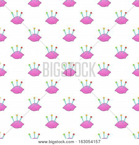 Cushion with pins pattern. Cartoon illustration of cushion with pins vector pattern for web