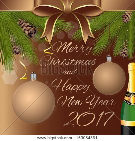 Merry Christmas and Happy New Year 2014. Greeting card with gold ribbon, bottle of champagne, Christmas balls and fir branches. Vector illustration