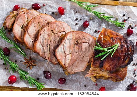Delicious Turkey Meat Roulade Cut In Slices, Close-up