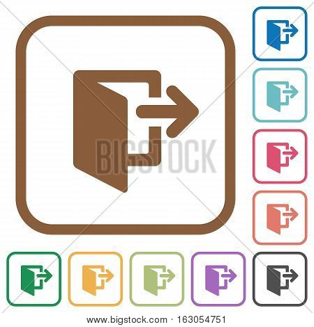 Exit simple icons in color rounded square frames on white background