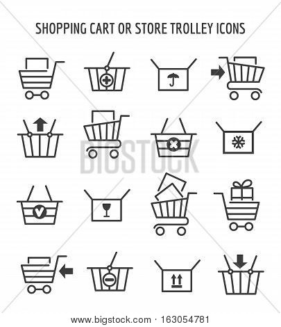 Shopping cart or store trolley icons for web e-commerce. Outline shop carts signs empty and full, add and clear. Vector illustration