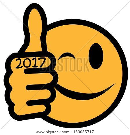 New Year´s smiley with thumb up and year 2017