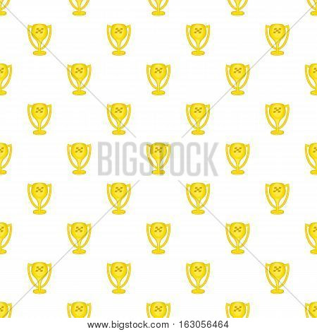 Cup for first place pattern. Cartoon illustration of cup for first place vector pattern for web