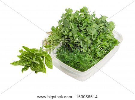Bunches of a fresh parsley and dill in a plastic tray and beside it bunches of green basil and cilantro on a light background