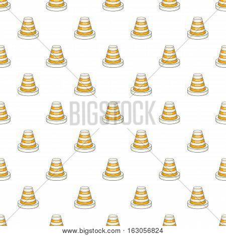 Traffic cone pattern. Cartoon illustration of traffic cone vector pattern for web