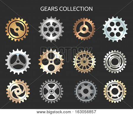 Metal gears vector illustration. Metallic clock cogwheels isolated on black background
