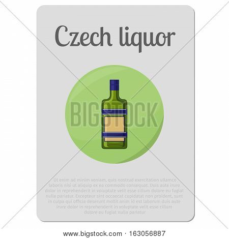 Czech liquor alcohol. Sticker with bottle and description vector illustration